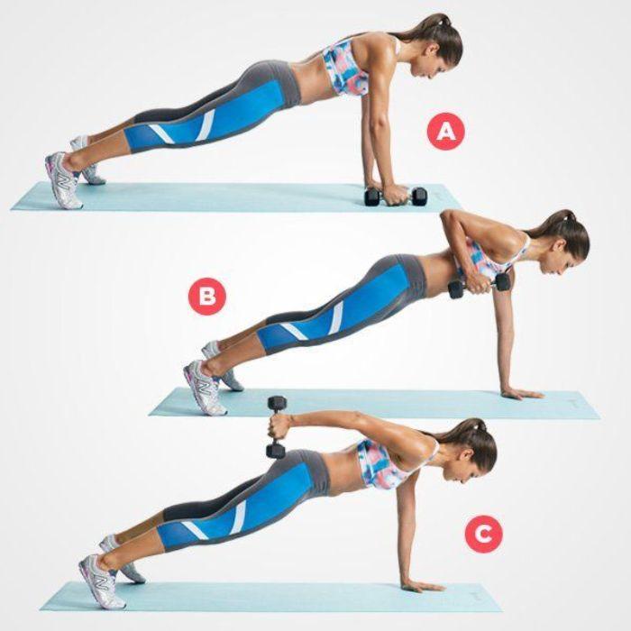 entrainement exercicex abdos et triceps, exercice ceinture abdominal et bras de fer, gain ventre plat femme