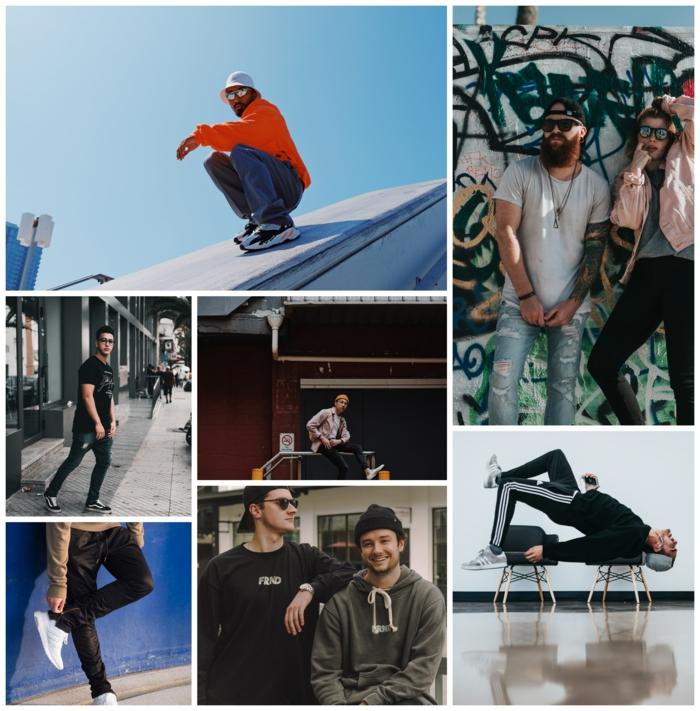 Collage avec images à la mode année 90, sport tenue et top couleur vibrant