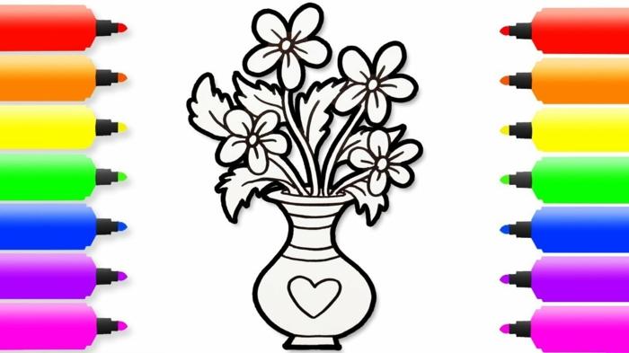 Coloriage simple vase fleurie dessin pour maman, comment dessiner maman cadeau pour la fete