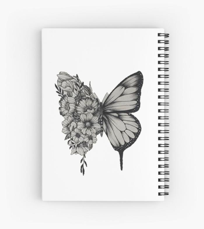Dessin tatoueur papillon un aile fleurie dessin simple, papillon à dessiner chouette idée dessin debutant