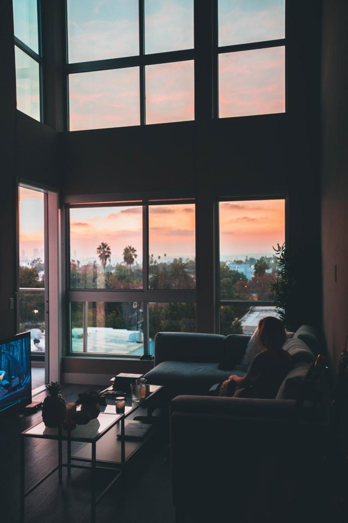 Californie fond d'écran paysage, meilleur fond d'écran image à télécharger vue de l'appartement palmiers coucher de soleil à LA