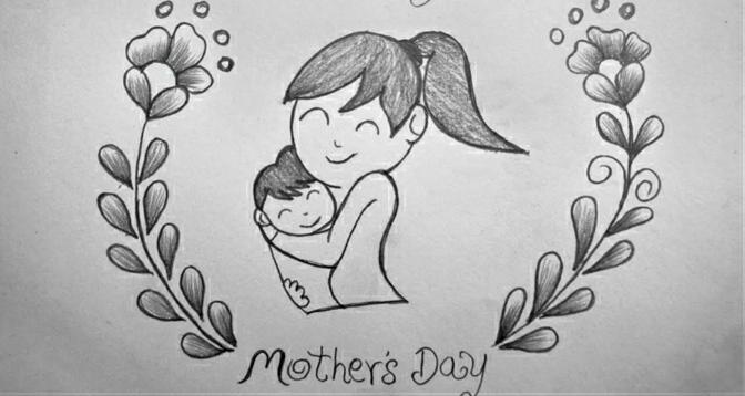 Mere enfant dessin fete des mere, idée quel dessin pour maman image encadré de fleurs crayon noir et papier blanc