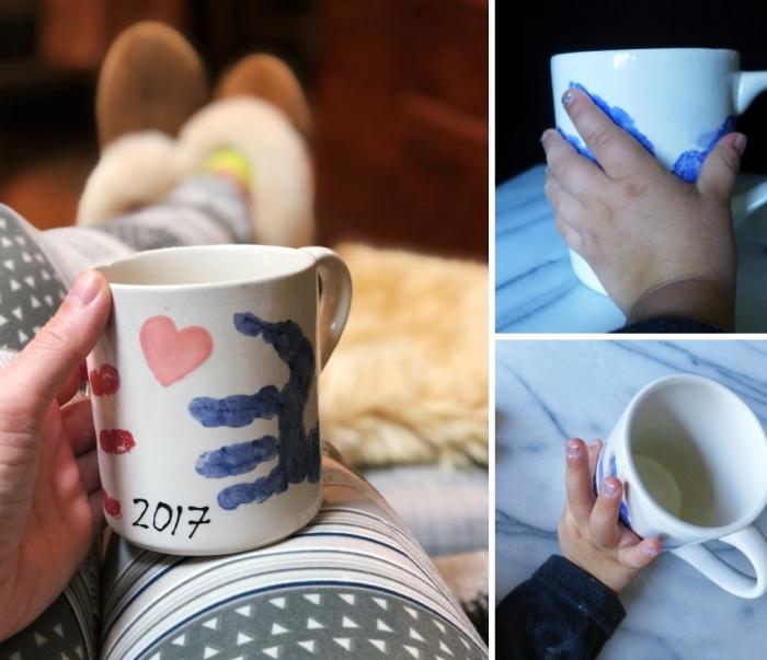 exemple comment personnaliser une tasse de café blanche avec empreinte d'enfant, exemple de cadeau fete des meres diy