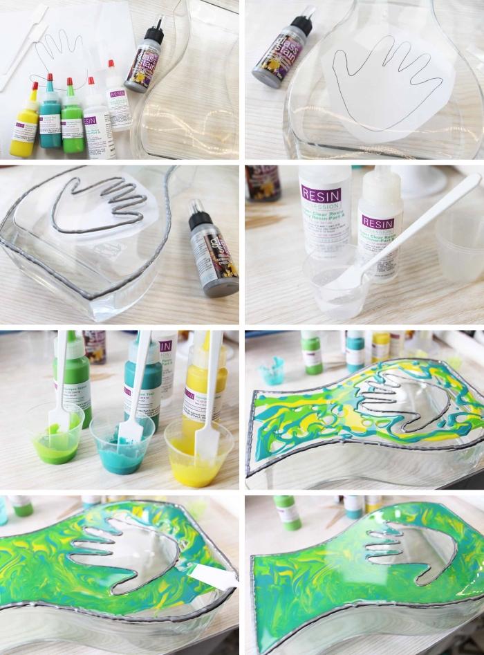 comment customiser un vase transparent avec peinture, activité fête des mères avec résine transparente et résine de couleurs jaune et vert
