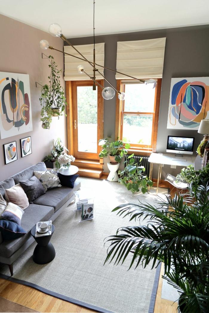 Beau salon avec parie office peintures abstraites, aménagement petit studio, decoration interieur appartement tendance