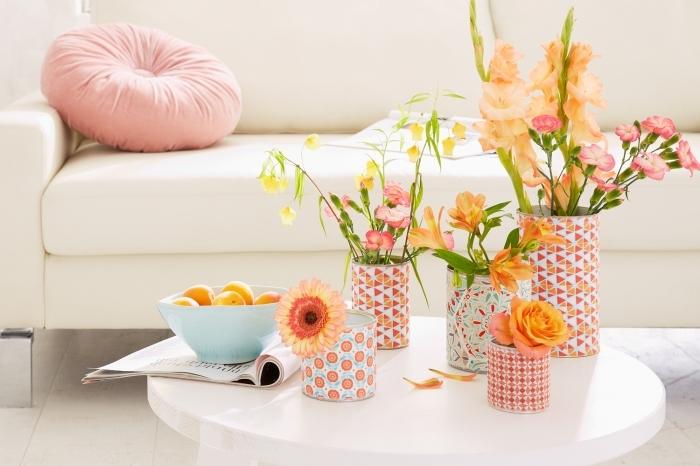 activités manuelles faciles pour faire une déco de printemps, idées comment transformer les boîtes de conserve en vase