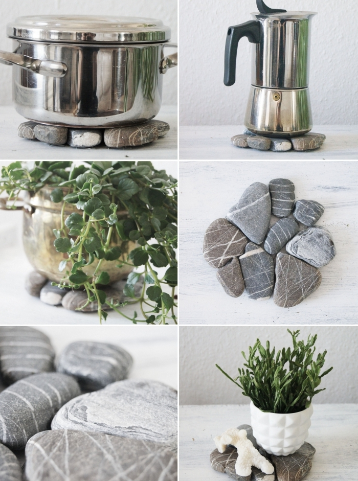 idée d activité manuelle facile et rapide, comment faire un dessous de verre originale avec pierres, objet diy pour déco de printemps