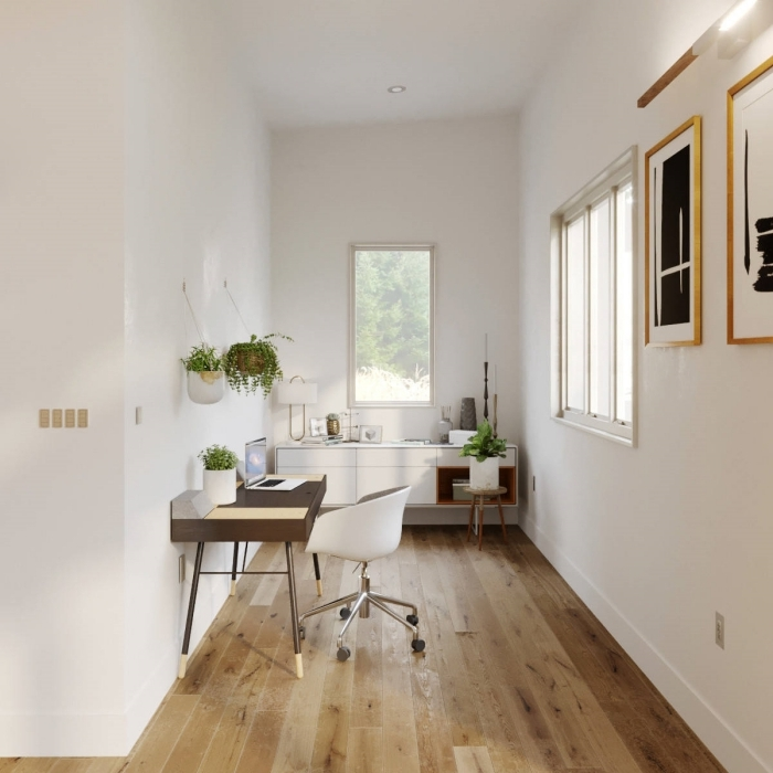 idée comment aménager un home office moderne en blanc et bois, décoration bureau à domicile avec plante suspendue