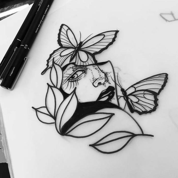 Femme visage dessin chouette, papier et crayons pour un dessin noir et blanc papillons