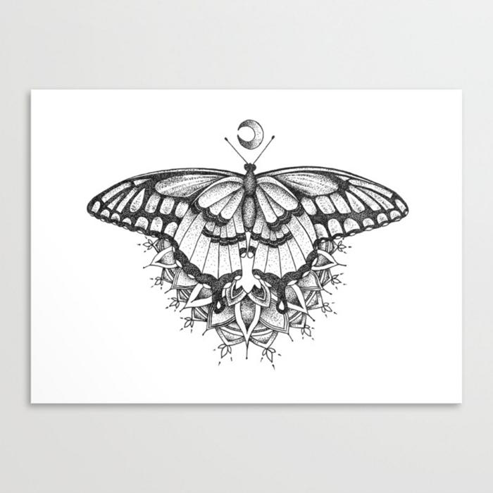 Esquise tatouage animal mandala image dessin facile a faire, chouette dessin papillon facile