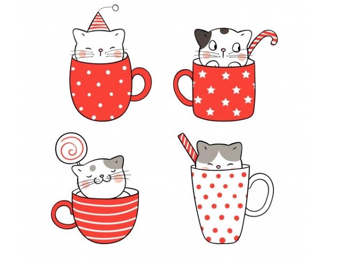 différents modèles de dessin de chat mignon facile dans un mug, apprendre à dessiner un petit chat mignon dans tasse