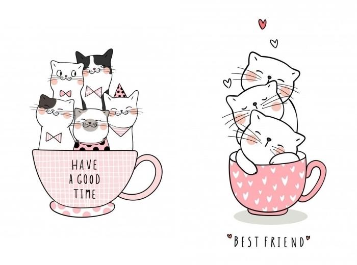 idées de dessin de chat mignon facile à faire, modèles de dessins mignons à motifs animaux pour un bullet journal