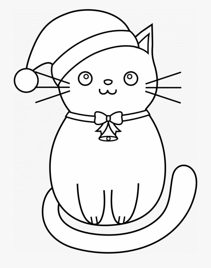 exemple de dessin de chat facile a reproduire pour enfant, modèle de dessin blanc et noir à imprimer et colorer