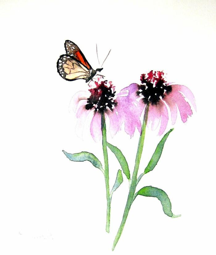 Papillon sur fleur aquarelle dessin animal insecte, le plus beau animal du monde le papillon