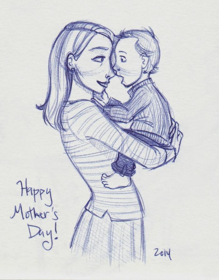 Dessin avec stylo bleu enfant et sa maman images fête des mères, dessin pour la fête des mères à retracer