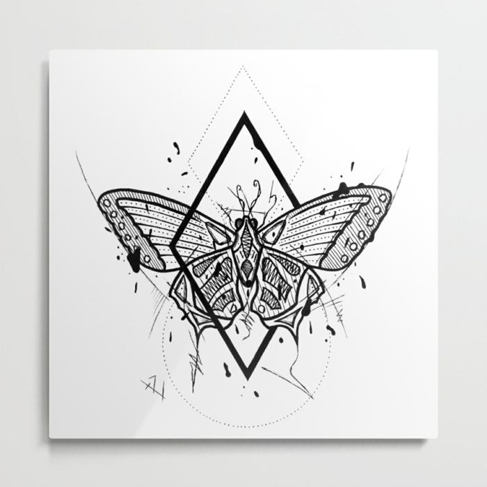 Moderne style de dessin lignes geometriques, dessin facile a reproduire par etape, comment dessiner un papillon