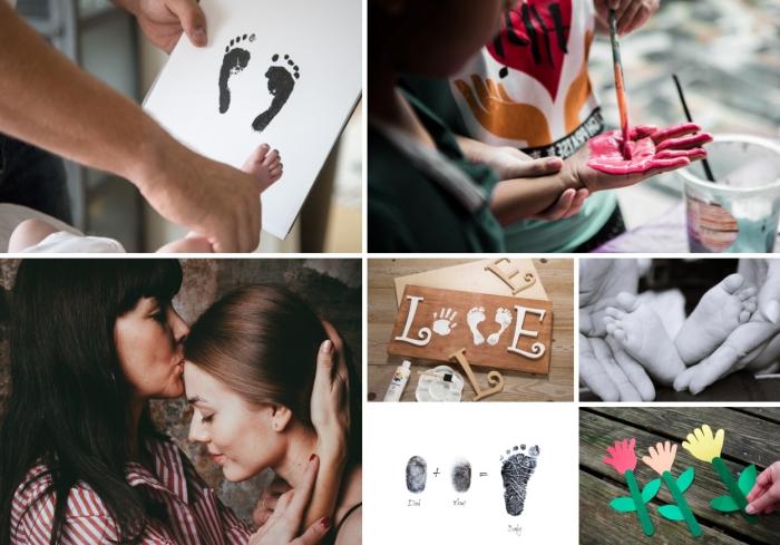 projets créatifs pour la fête des mères avec empreinte bébé ou enfant, faire des objets décoratifs avec empreintes de pied ou de main