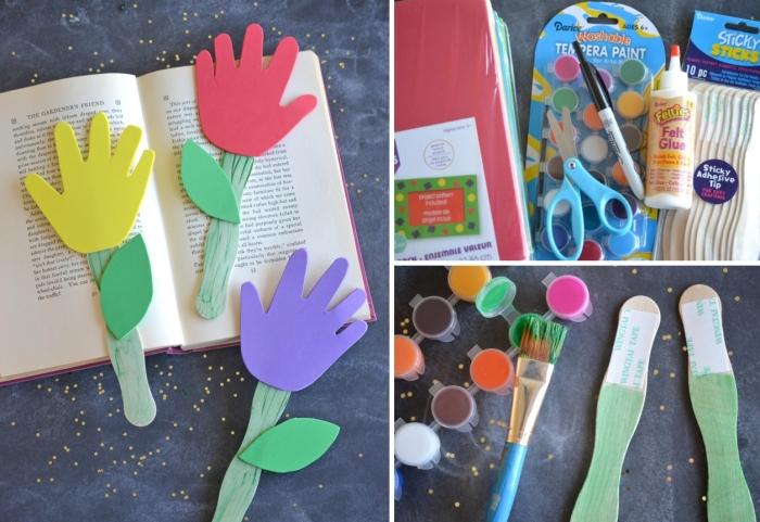 idée de bricolage fête des mères pour tout petit, exemple comment faire facilement des marques-pages en forme de fleur
