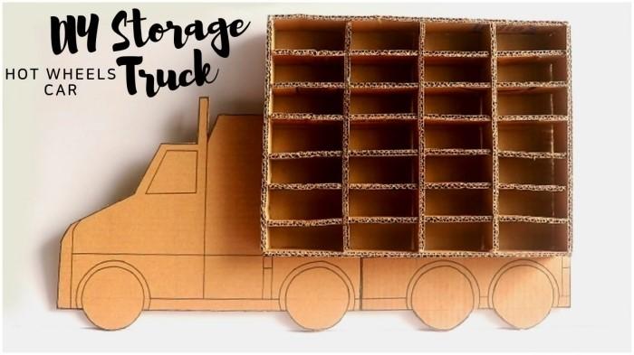 idee rangement jouet facile à fabriquer soi-même, diy rangement mural pour les petites voitures fabriqué avec morceaux de carton