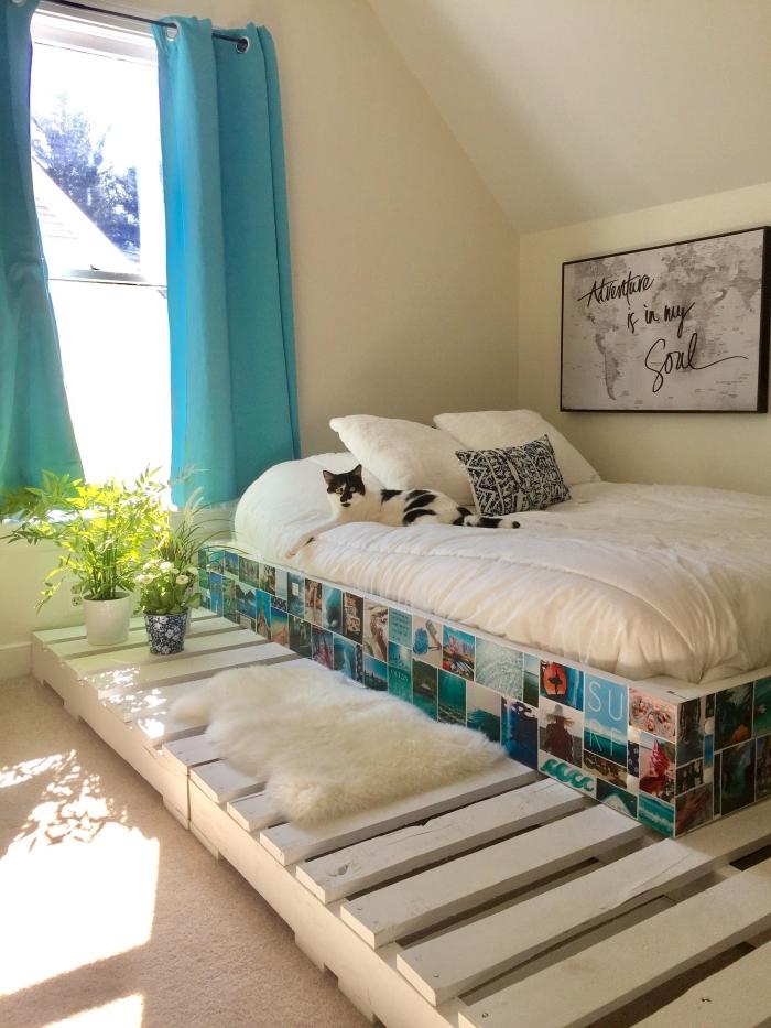 exemple comment décorer une chambre d'ado avec diy meuble en palette recyclé, idée d'activité manuelle adulte facile