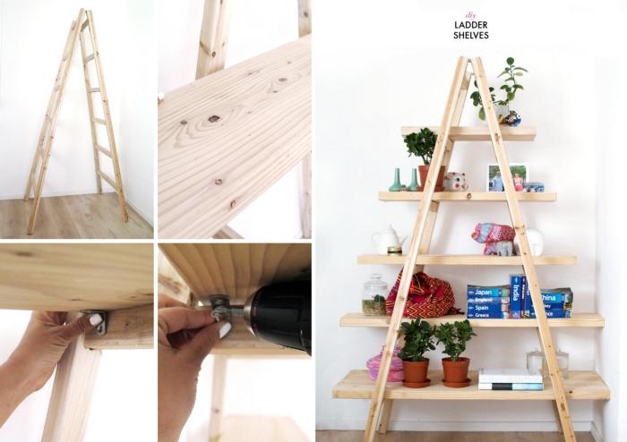 comment fabriquer un rangement chambre original avec une double échelle et planches de bois clair de style minimaliste
