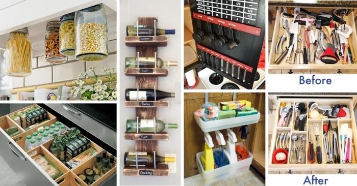 astuces pour amenager petite cuisine avec rangement mural DIY, pots en verre remplis de produits cuisines suspendus