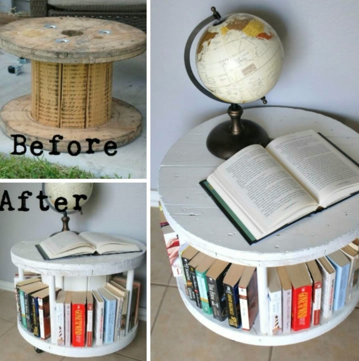 idée bricolage facile pour faire un rangement de livre original, diy meuble en bobine de bois recyclée et peinte en blanche