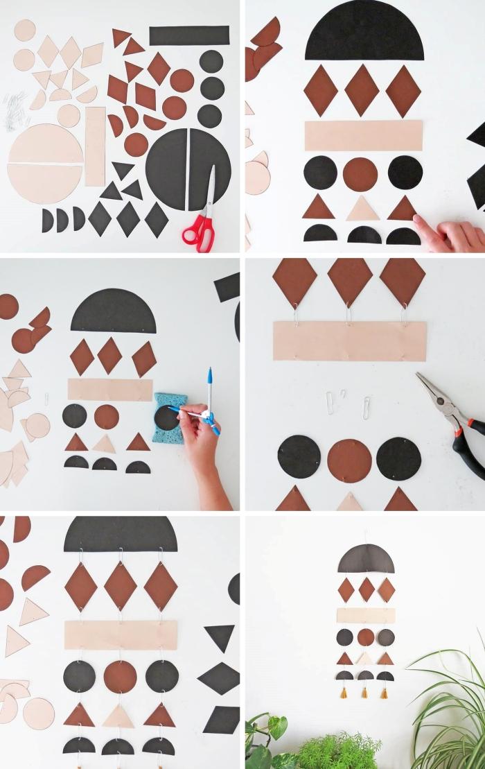 idée d activité manuelle facile avec papier, exemple comment faire une suspension murale en formes géométriques en papier