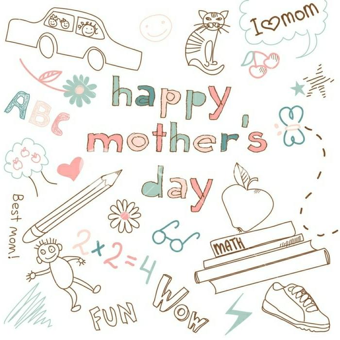 Esquises petits dessins coloriage fête des mères, idée image fete des meres chouette