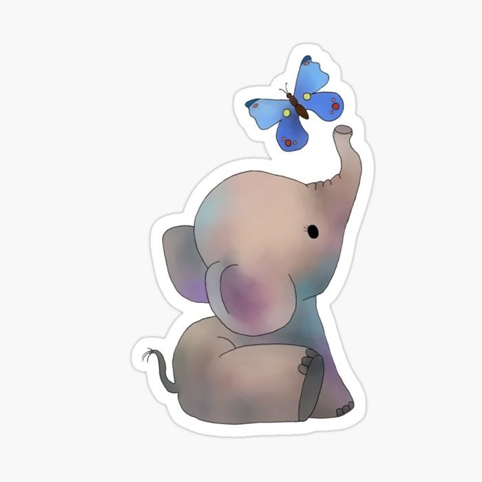 Elephant adorable qui jeu avec son ami le papillon, simple image papillon, comment dessiner un papillon pour fille