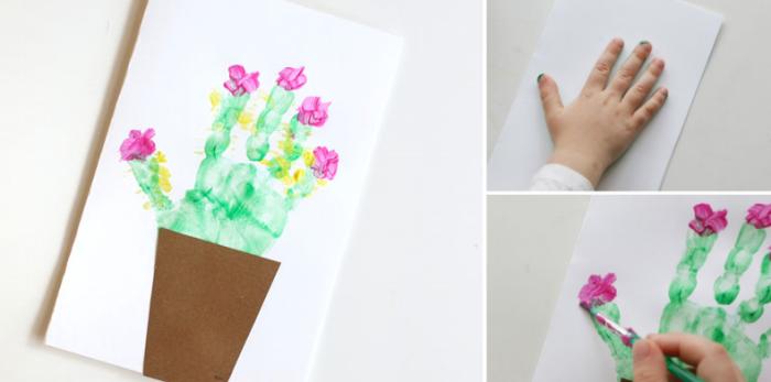 modèle de carte DIY en papier blanc avec peinture de cactus, idée de cadeau fête des mères maternelle facile à faire