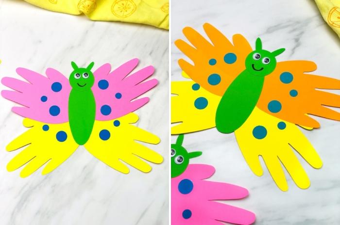 modèle de carte fête des mères maternelle en forme de papillon aux ailes en empreintes de petites mains d'enfant colorés