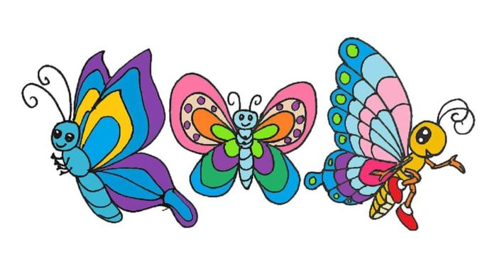 Trois papillons enfant dessin coloré, comment dessiner un papillon, simple dessin animal