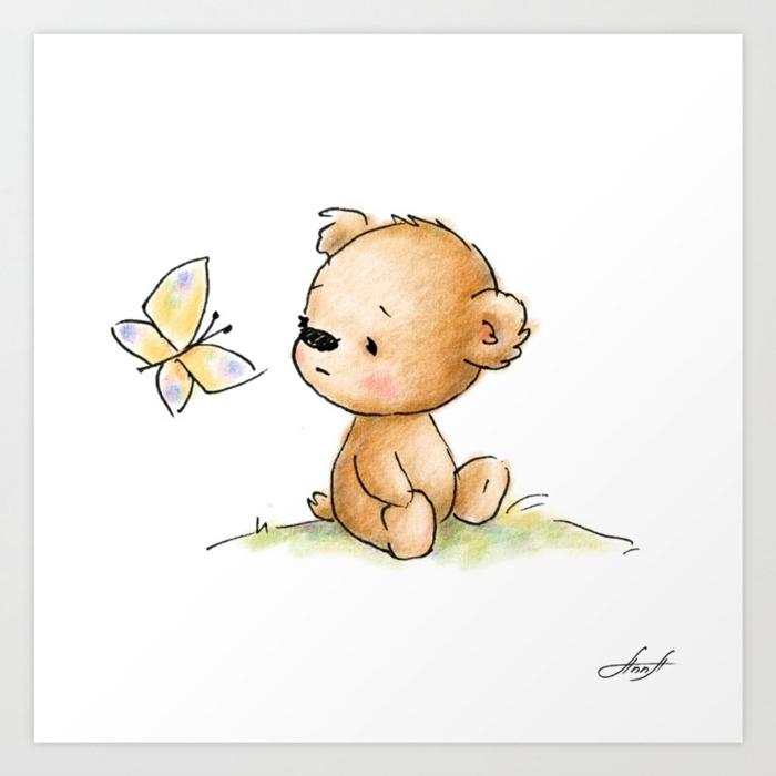 Ourson adorable qui jeu avec son ami le papillon coloriage papillon, dessin facile a faire et colorier apres simple