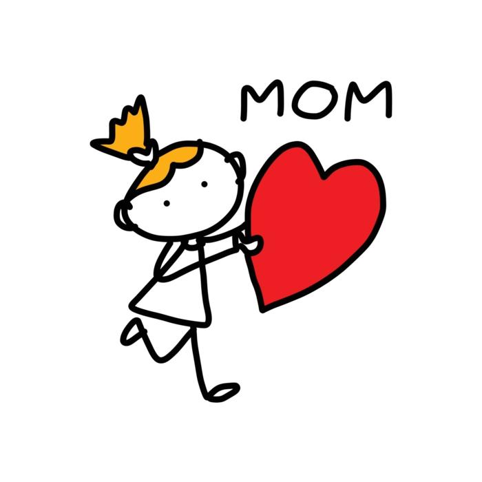 Fille qui porte son coeur pour sa maman dessin fête des mères, faire un cadeau diy, image fete des meres