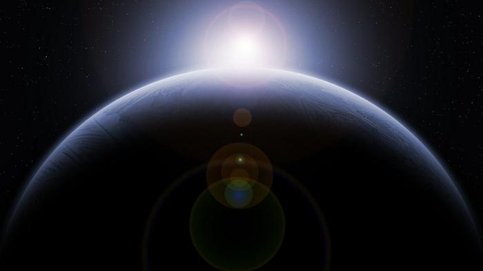 choisir un fond d écran univers pour son ordinateur, photographie étoile dans l'astre central et planète dans le cosmos