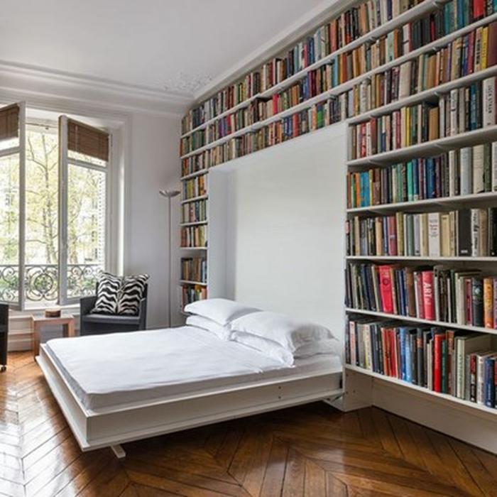 Bibliothèque dans la salle de séjour déco de petit appartement, aménagement studio moderne boheme