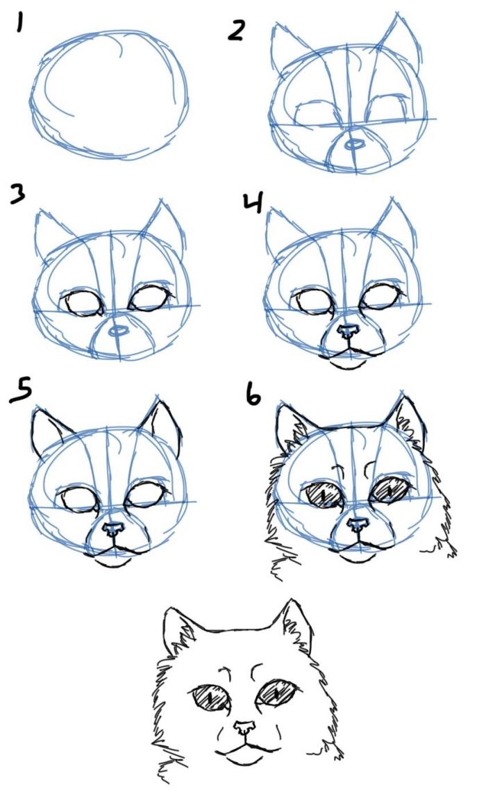 apprendre a dessiner un chat facilement, tutoriel pour apprendre à faire une tête de chat à l'aide de traits de repère
