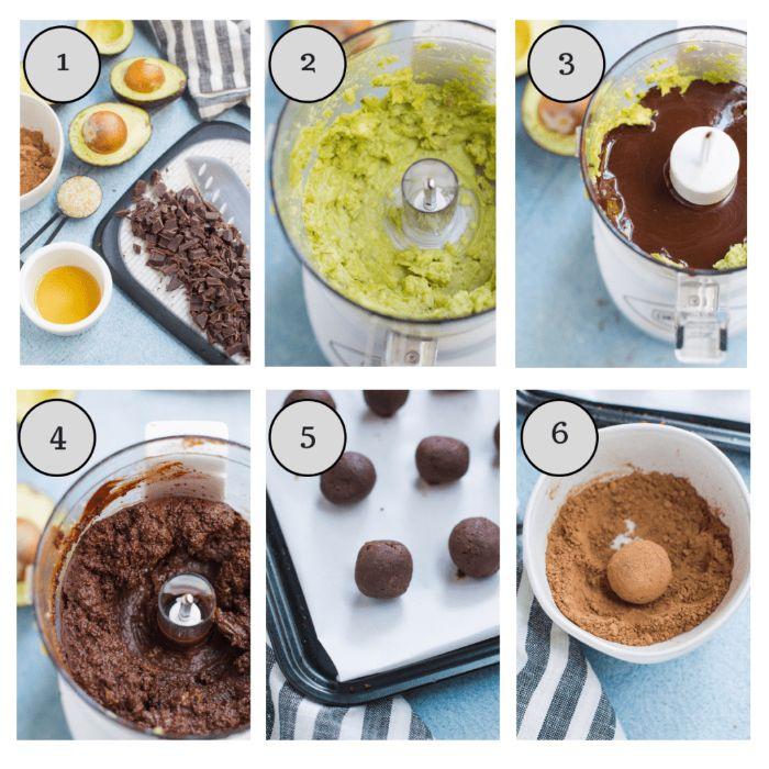 recette energy balls maison avec de l avocat, cacao, chocolat et sirop d erable, idée dessert facile sans four