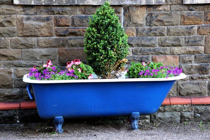vieille baignoire bleu marine recyclée et fleurie, idee de jardiniere enorme, objets récupérés et transformés