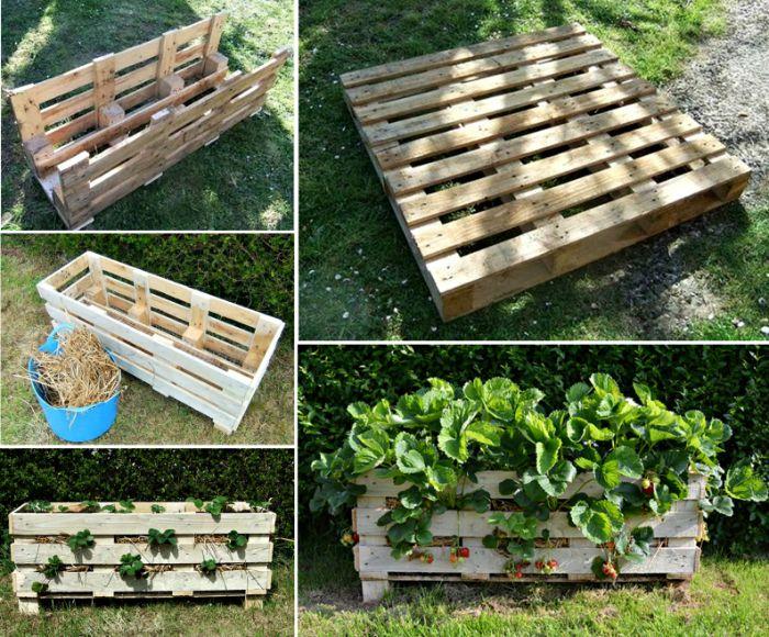 fabriquer un cerisier bac dans une vieille palette recyclée, aménager son jardin de maniere originale