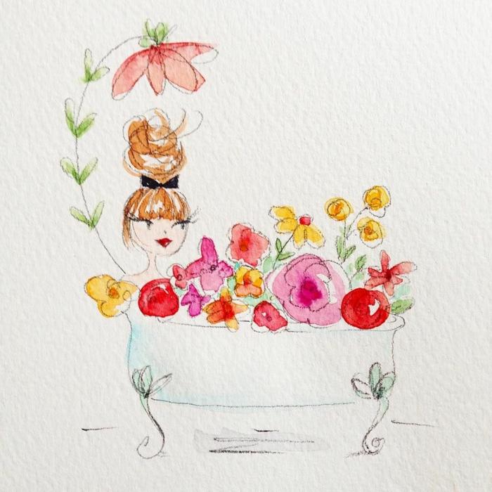 Femme dans baignoire avec fleurs coloriage fete des meres, dessin fete des mere a colorier ou retracer