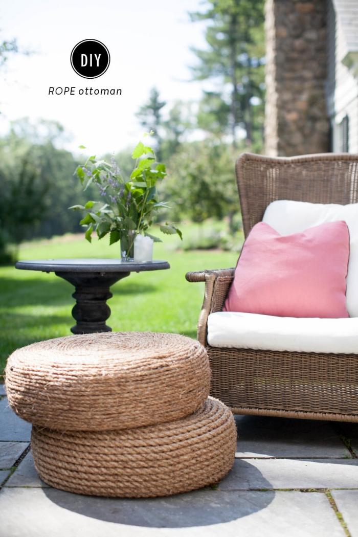 diy déco chambre ou salon avec matériaux de récupération, faire un pouf original avec vieux pneu et ficelle de jute