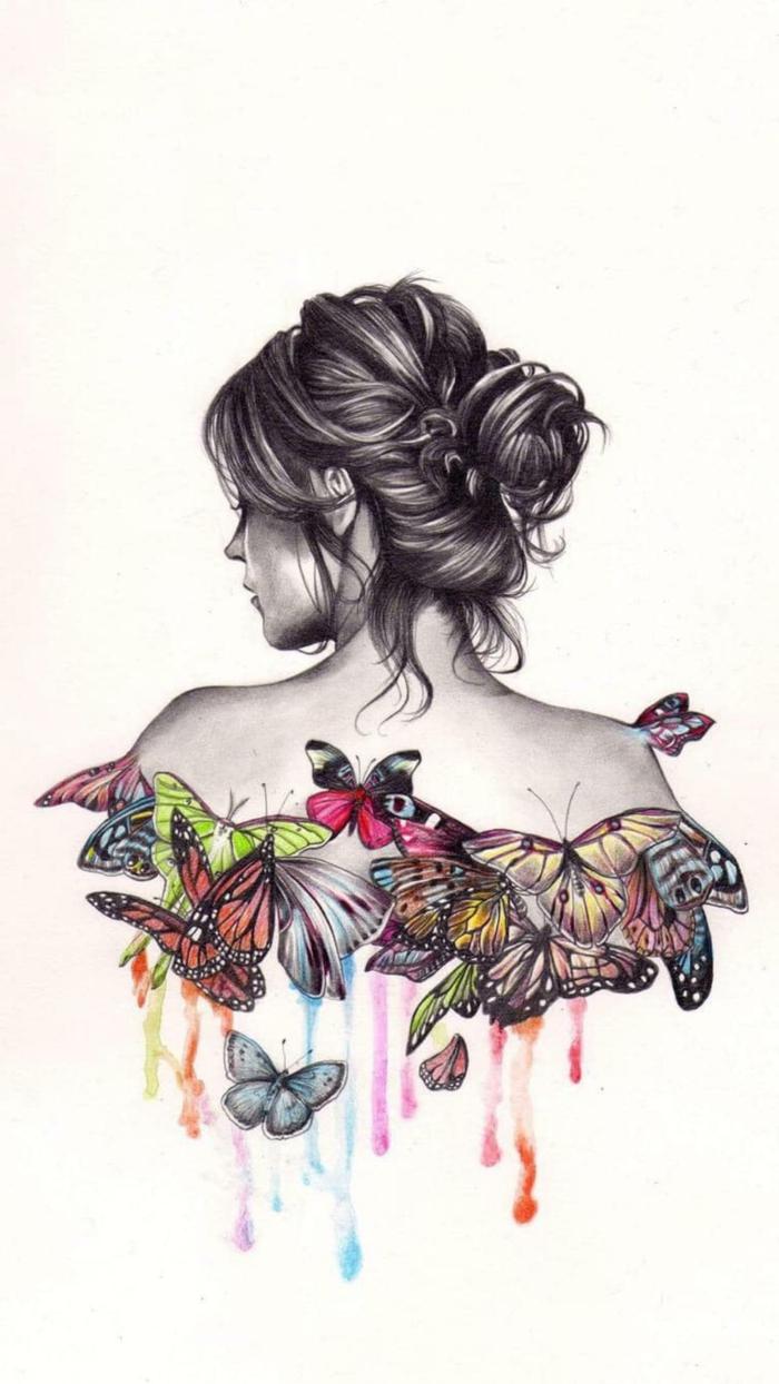 Coloré papillon dos fille simple dessin papillon facile, faire un dessin soi meme
