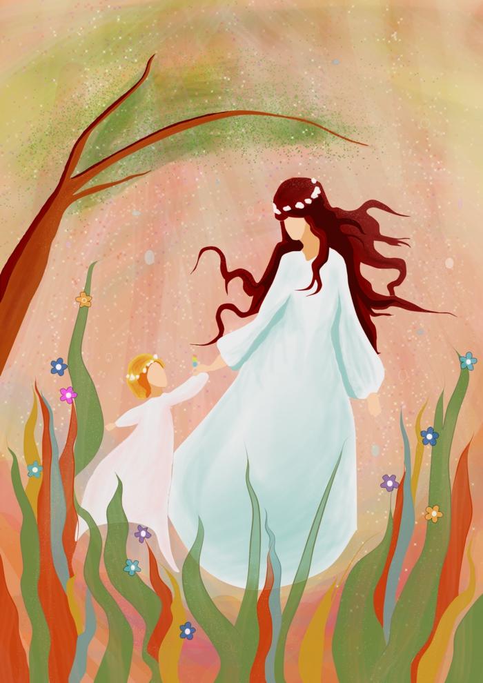 Femme en robe blanche longue et couronne de fleur et sa fille tenue assortie coloriage bonne fete maman, images fête des mères a offrir comme cadeau