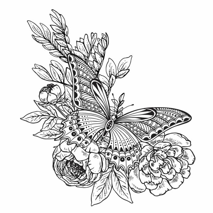Dessin a se faire tatouer fleurs et papillon, dessin noir et blanc, dessin papillon facile a faire reproduire
