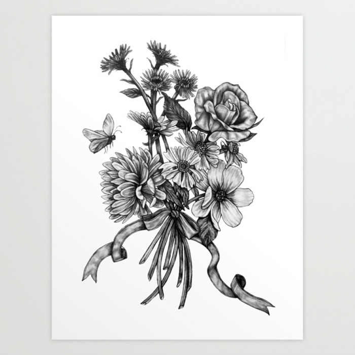 Fleurs bouquet et papillon adorable dessin simple, comment dessiner un noeud papillon facile