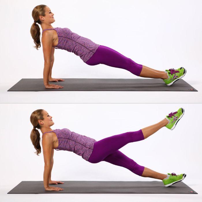 gainage renversé avec des levés de jambes alternés, exercice ventre plat gainage planche femme