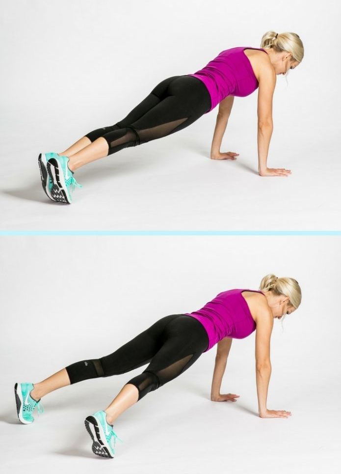 gainage dos et ventre cardion avec des sauts sur les cotés, exercice abdos facile a faire chez soi