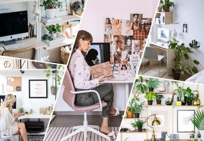 design coin de travail maison avec plante bureau, idée comment bien aménager un bureau dans sa chambre de style bohème